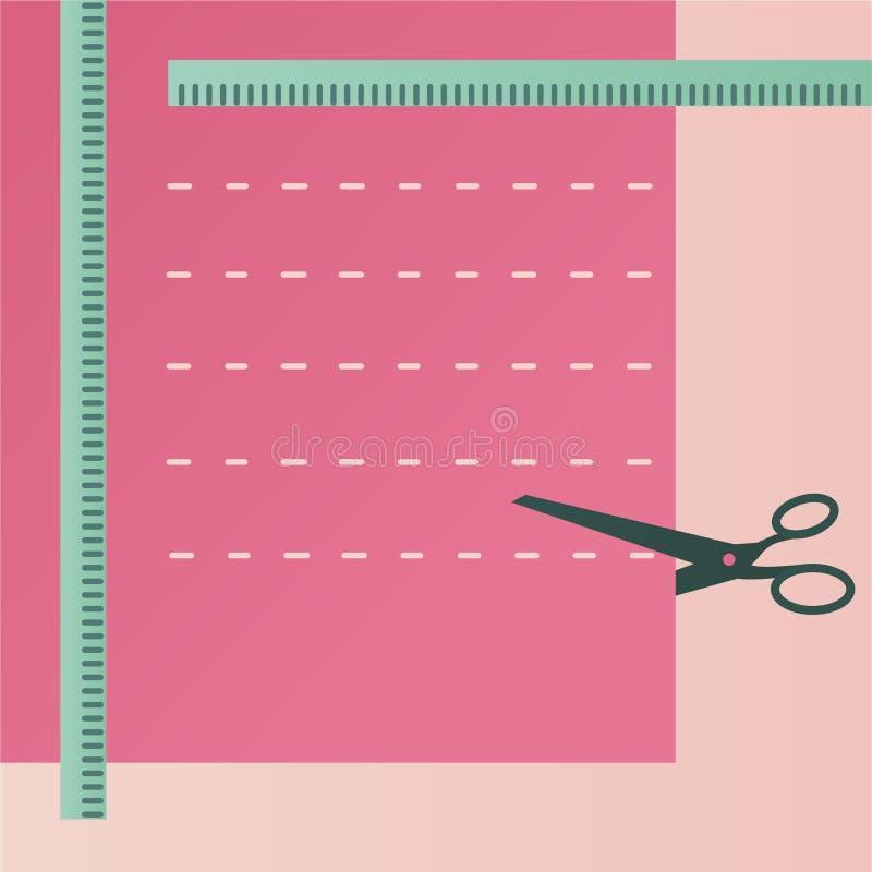 Acessórios Sewing Tesouras e pano ilustração stock