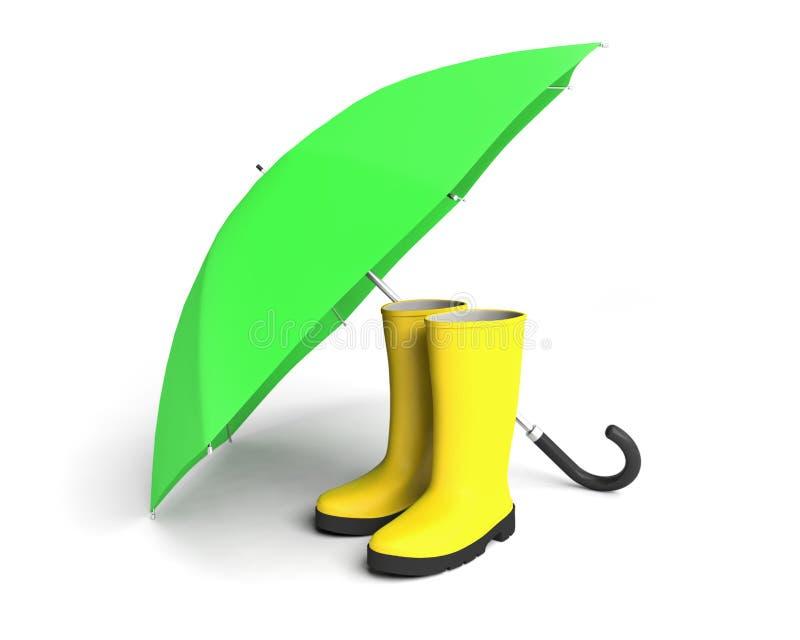Acess?rio da prote??o dos gumboots do guarda-chuva das botas de chuva ilustração stock