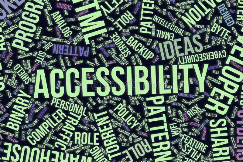 Acessibilidade, nuvem conceptual da palavra para o negócio, tecnologia da informação ou TI ilustração do vetor