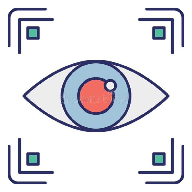 Acesso biométrico, ícone biométrico do vetor da identificação do olho que pode facilmente alterar ou editar ilustração do vetor