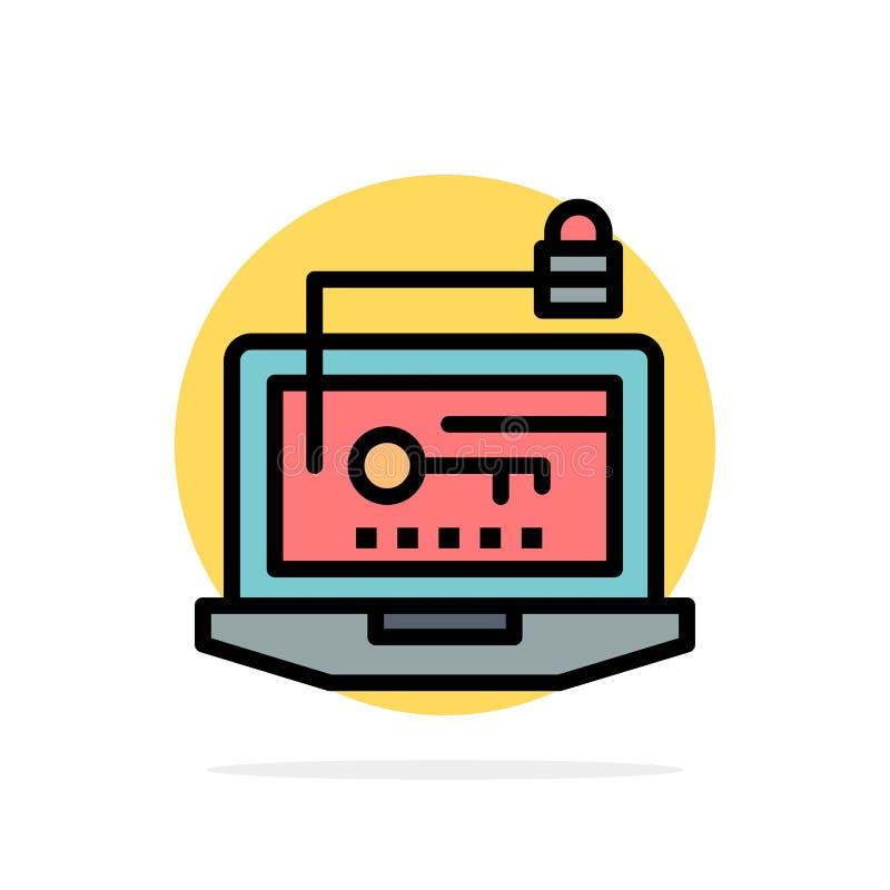 Acesso, computador, hardware, chave, ícone liso da cor do fundo do círculo do sumário do portátil ilustração royalty free