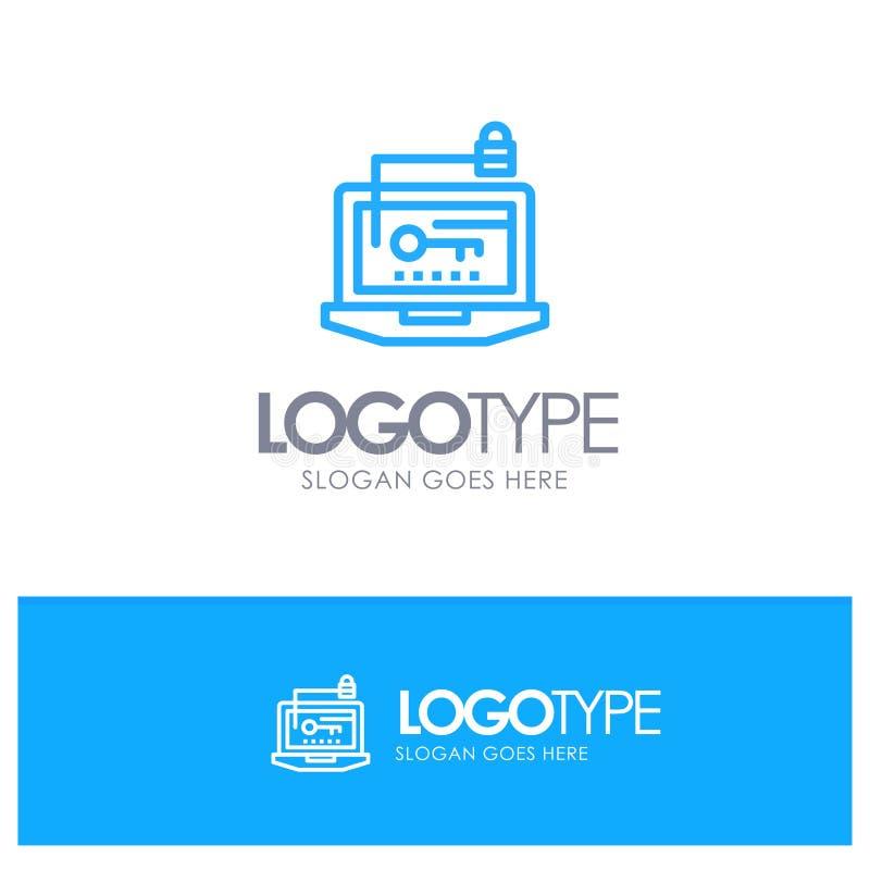 Acesso, computador, hardware, chave, logotipo azul do esboço do portátil com lugar para o tagline ilustração do vetor