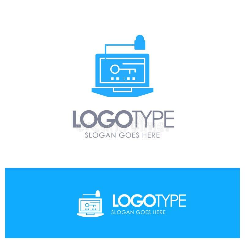 Acesso, computador, hardware, chave, logotipo contínuo azul do portátil com lugar para o tagline ilustração do vetor