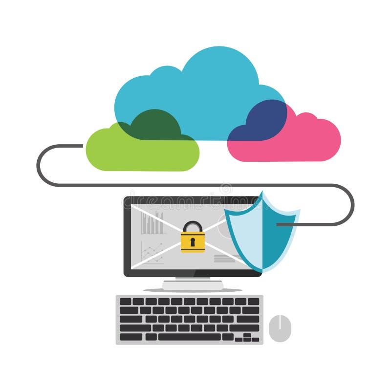 Acesso de Internet seguro Conexão segura ilustração stock