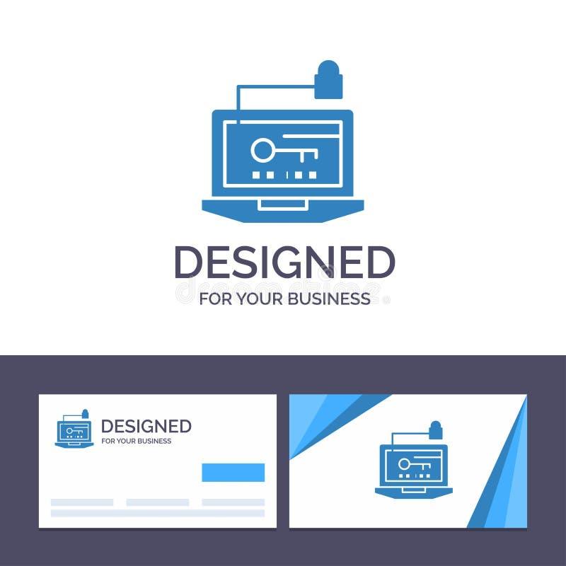 Acesso do molde criativo do cartão e do logotipo, computador, hardware, chave, ilustração do vetor do portátil ilustração stock
