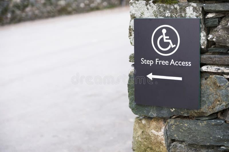 Acesso livre da etapa para o usuário de cadeira de rodas deficiente no campo rural imagem de stock royalty free