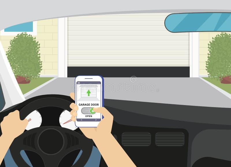Acesso remoto através do smartphone app móvel à porta da garagem ilustração do vetor
