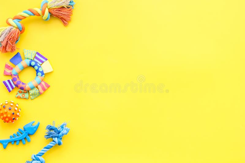Acessories para a preparação do cão Brinquedos para cães Modelo amarelo da opinião superior do fundo imagem de stock royalty free