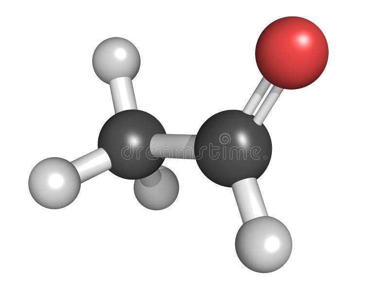 Acetaldehyde (ethanal) molecule, chemische structuur. Acetaldehyd royalty-vrije illustratie