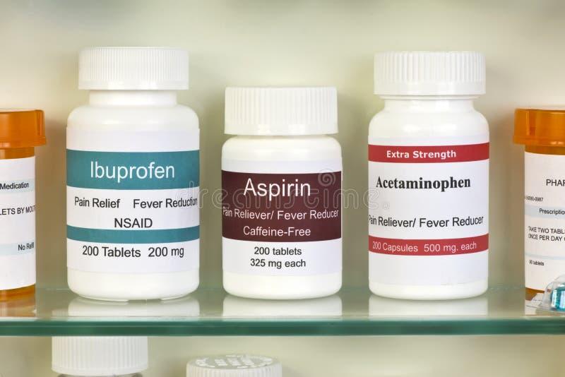 Acetaminophen do ibuprofeno de Aspirin fotografia de stock