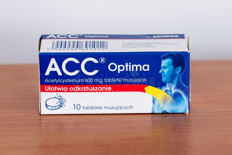 Acetylcysteinum di optimum di CRNA 600 compresse di mg fotografia stock libera da diritti
