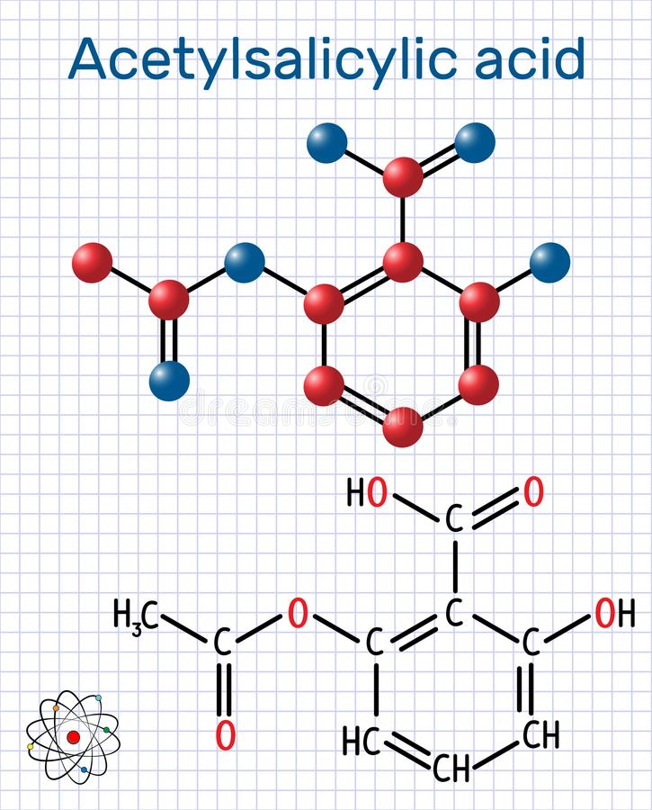 Acetylsalicylic acid aspirin, ASA molecule. Structural chemica. L formula and molecule model. Sheet of paper in a cage. Vector illustration vector illustration
