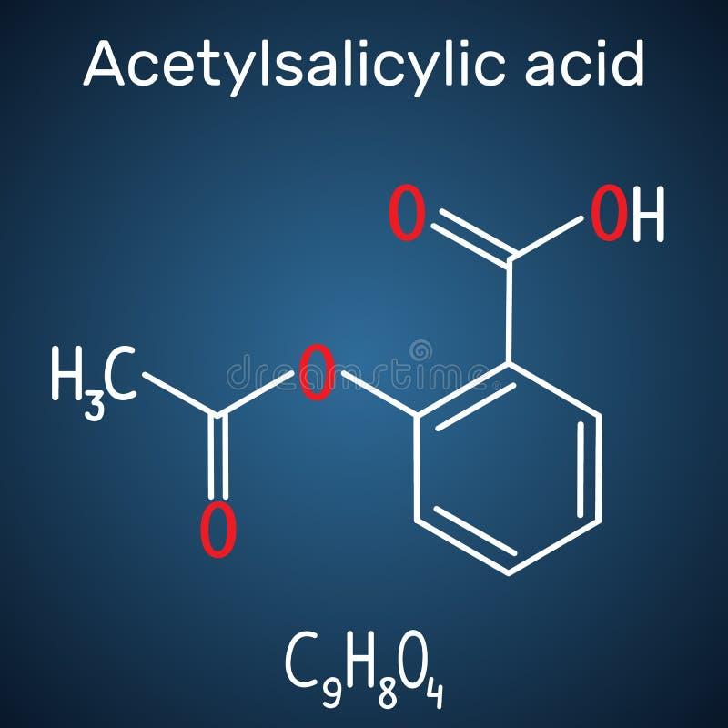Acetylsalicylic acid aspirin, ASA molecule. Structural chemica. L formula and molecule model on the dark blue background. Vector illustration vector illustration