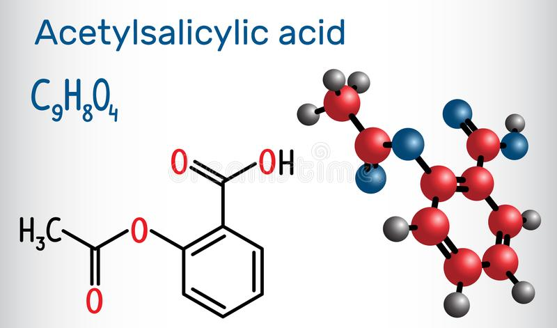 Acetylsalicylic acid aspirin, ASA molecule. Structural chemica. L formula and molecule model. Vector illustration royalty free illustration