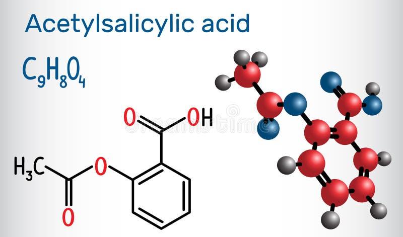 Acetylsalicylsäure aspirin, ASA-Molekül Strukturelles chemica lizenzfreie abbildung