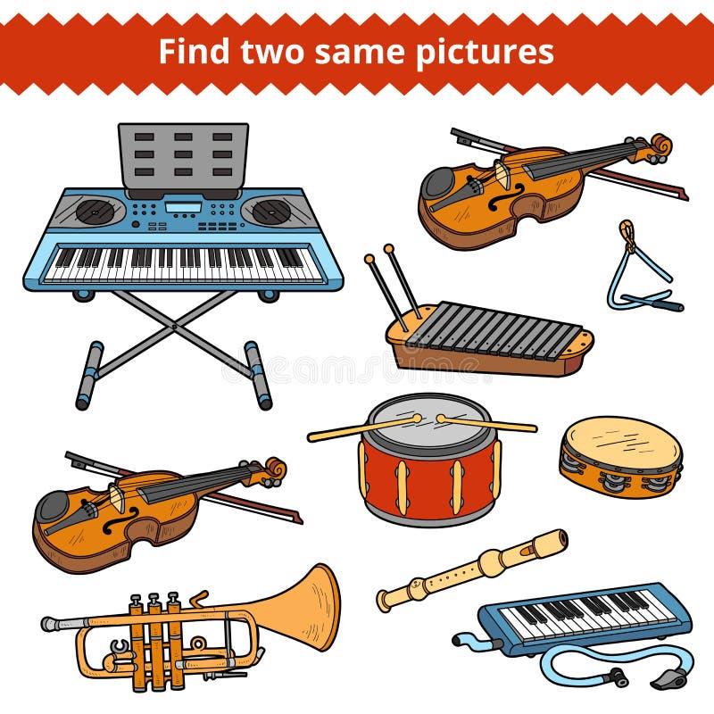 Achado dois as mesmas imagens Grupo do vetor de instrumentos musicais ilustração stock