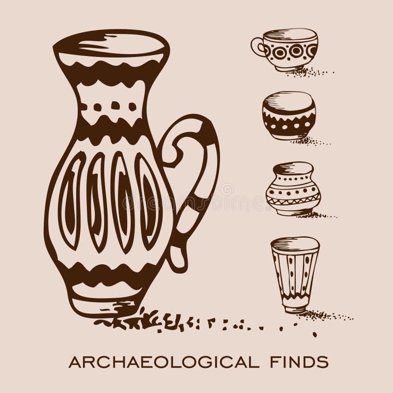 Achados Archaeological Vasos e jarros ilustração do vetor