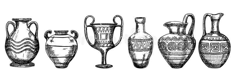 Achados Archaeological Vasos e jarros ilustração royalty free