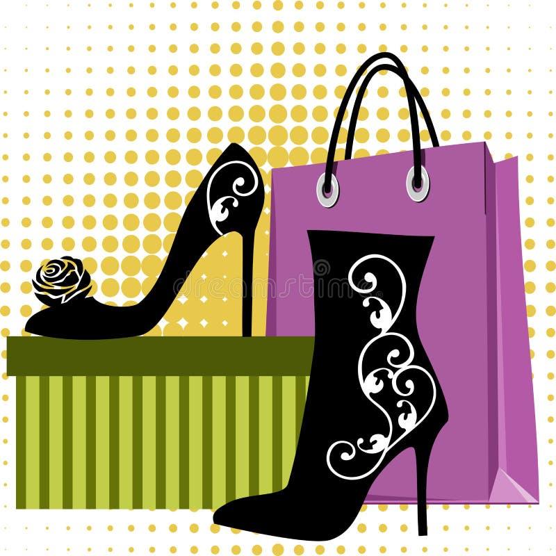 Achat de chaussures illustration stock