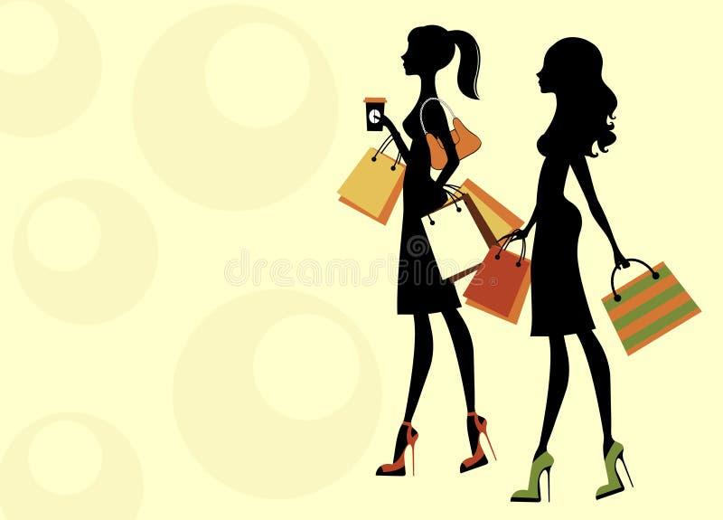 Achat de deux femmes de nana illustration de vecteur