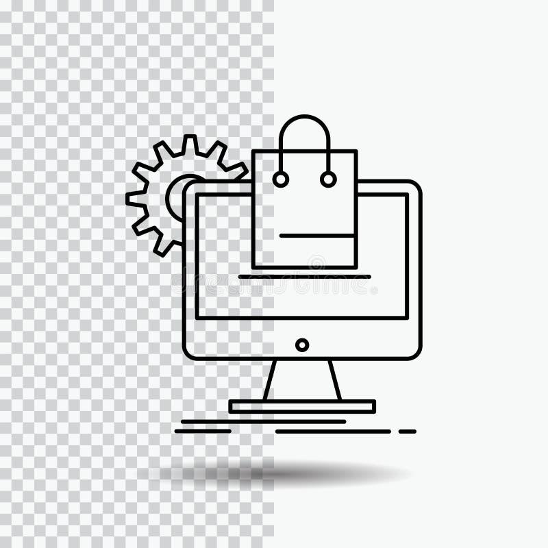 achat, en ligne, commerce électronique, services, ligne icône de chariot sur le fond transparent Illustration noire de vecteur d' illustration de vecteur