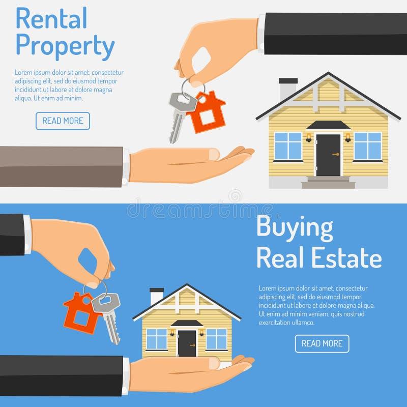 Achat et bannières de location d'immobiliers illustration libre de droits