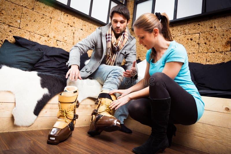 Achat pour Ski Boots photos stock