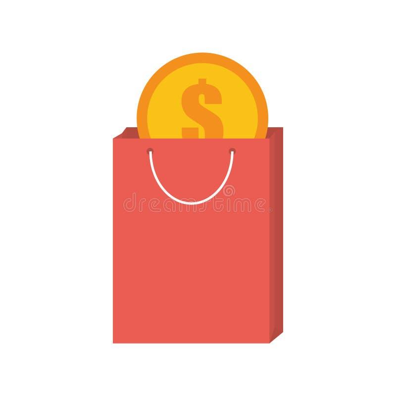Achat rose de cadeau de sac avec la pièce de monnaie du dollar illustration stock