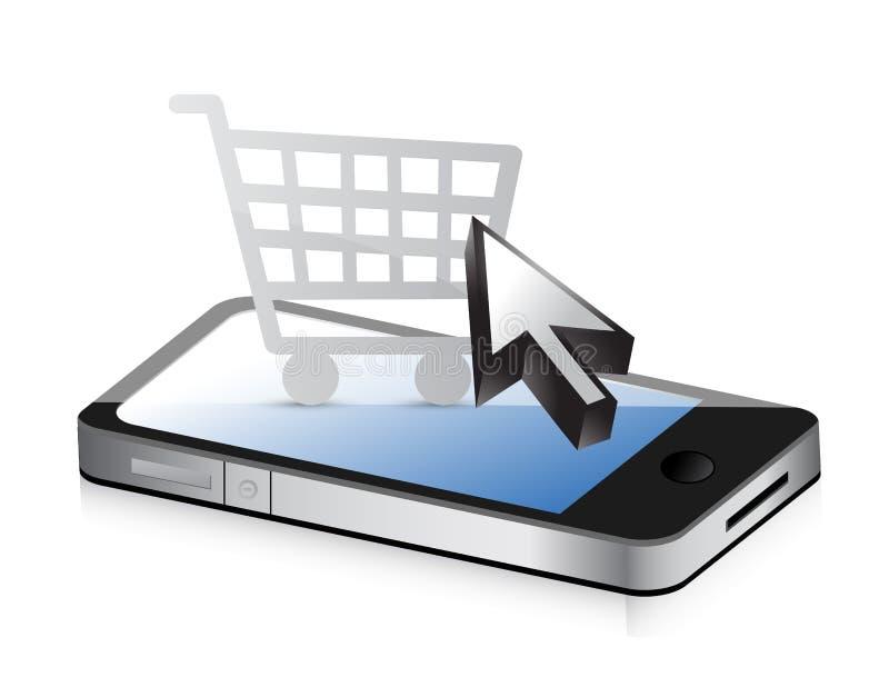 Achat utilisant la technologie. Téléphone et boutique en ligne illustration stock
