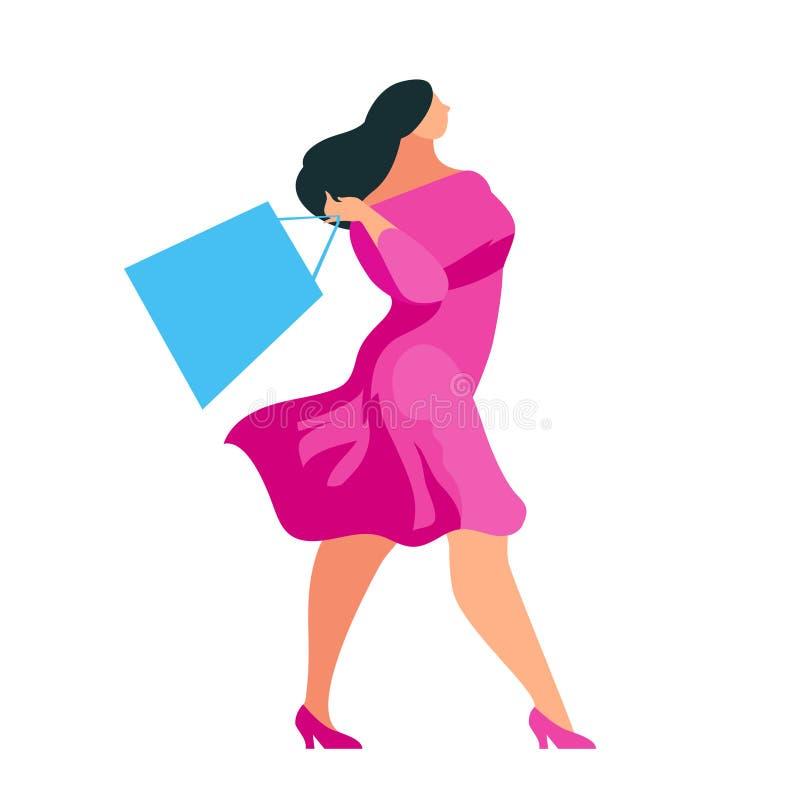 Achats Acheteur marchant avec des sacs dans des mains illustration de vecteur