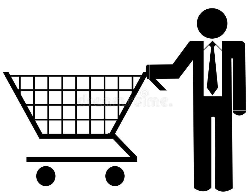 achats d'homme d'affaires illustration de vecteur