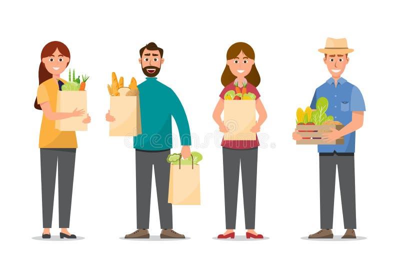 achats d'homme et de femme et tenir la pleine nourriture de sacs images stock
