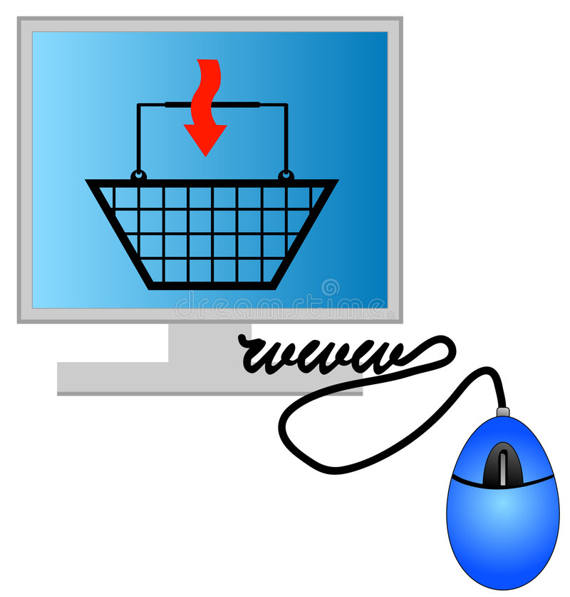 Achats d'Internet illustration stock