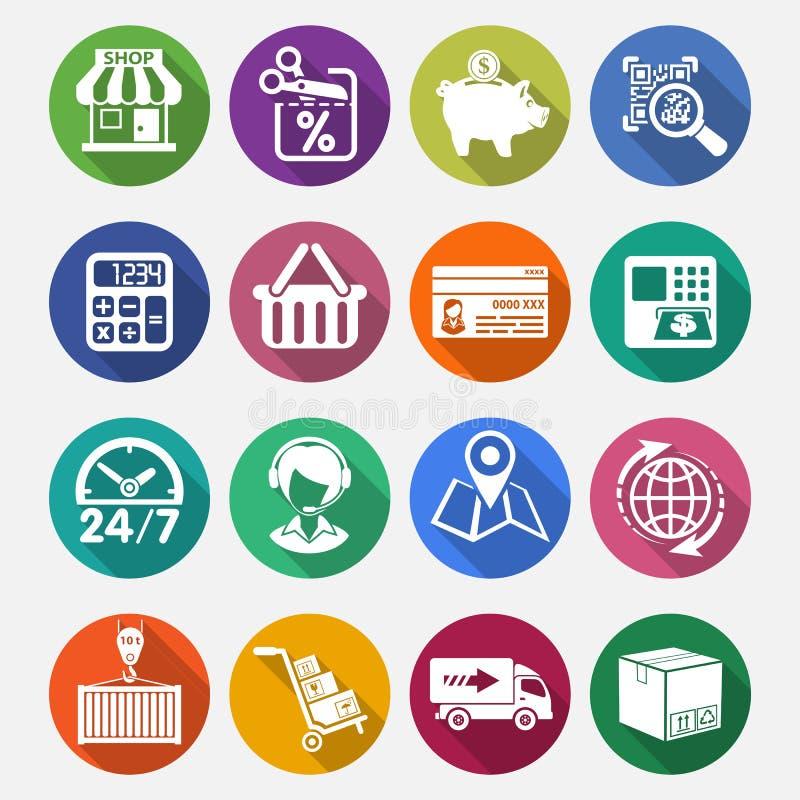 Achats d'Internet et ensemble plat d'icône de la livraison illustration libre de droits