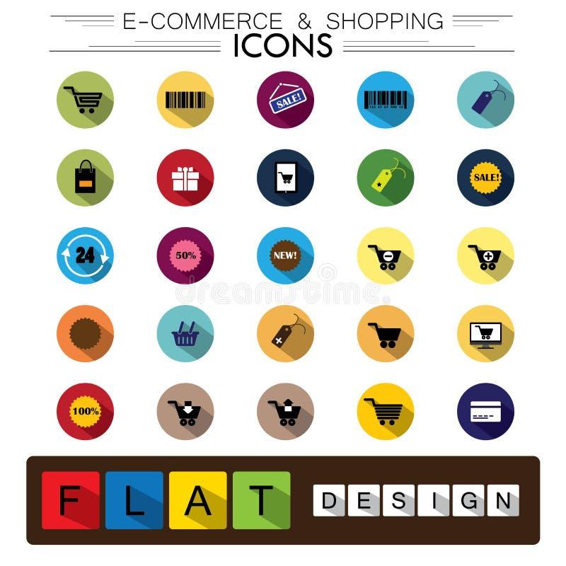 Achats de commerce électronique d'Internet et icônes plates de vecteur de conception d'affaires illustration libre de droits