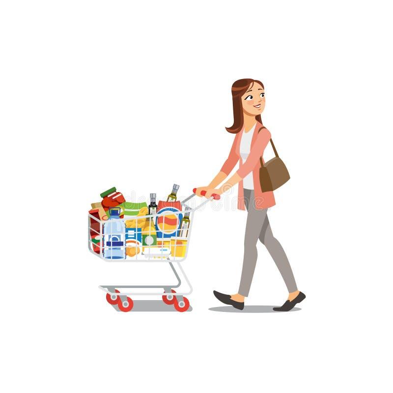 Achats de femme dans le vecteur de bande dessinée d'épicerie illustration de vecteur