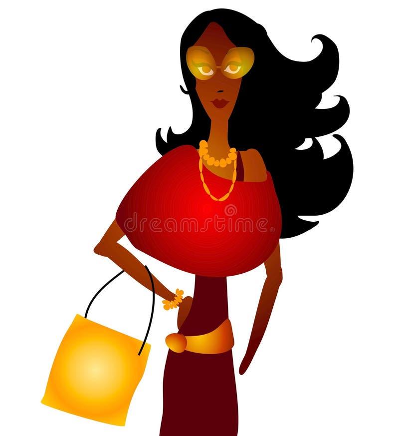 Achats de femme de mode d'automne illustration de vecteur