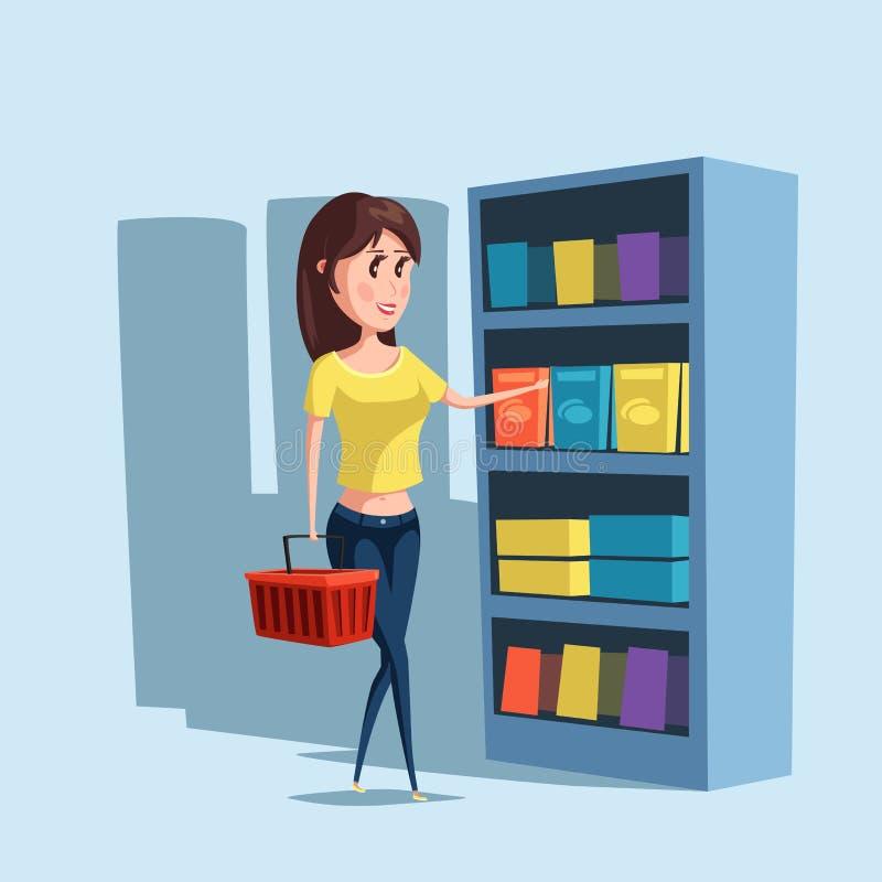 Achats de femme ou de fille au supermarché avec le panier illustration stock