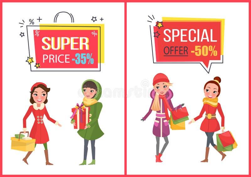 Achats de femme pour Noël, achetés présents illustration libre de droits