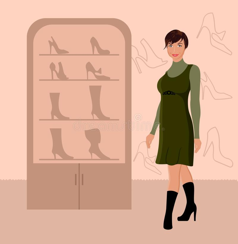 Achats de fille de mode dans le système de chaussure illustration de vecteur