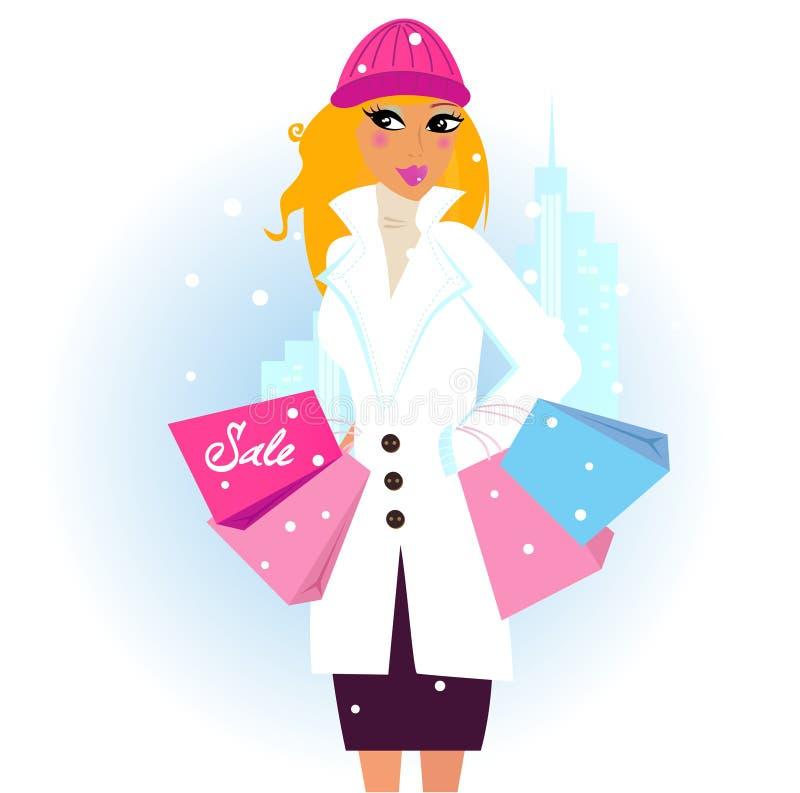 Achats de l'hiver : femme avec des sacs à provisions dans la ville illustration libre de droits