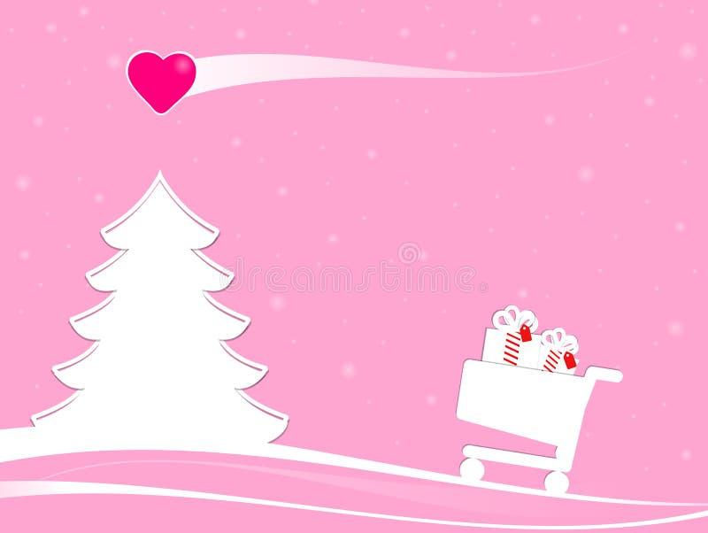 Achats de Noël avec la comète d'amour illustration libre de droits