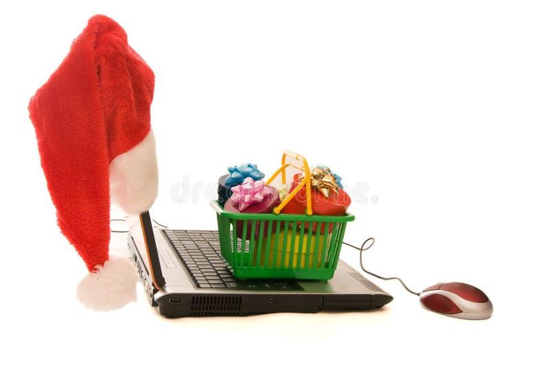 Achats de Noël en ligne photo stock