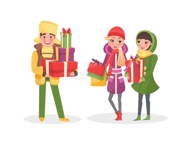 Achats de Noël, les gens avec la marche de sacs en papier illustration libre de droits