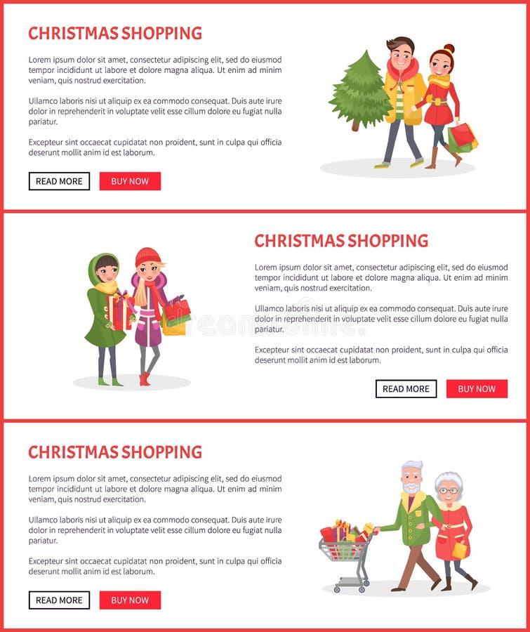 Achats de Noël, les gens avec le Web à feuilles persistantes d'arbre illustration de vecteur