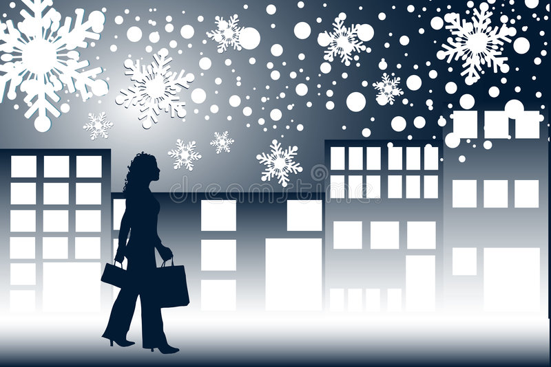 Achats de nuit de Noël illustration de vecteur