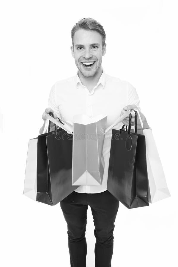 Achats de paquets reçus par client heureux d'homme Service de distribution Vêtements à la mode d'achat de type en ligne Achats en photo stock