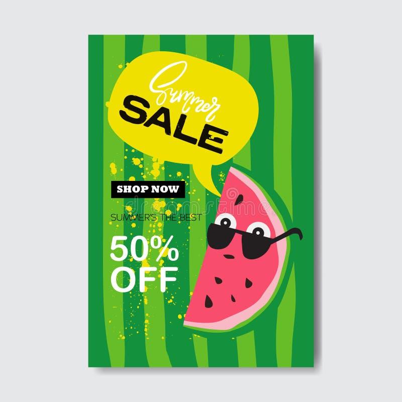 Achats de saison de label de conception d'insigne de lettrage de bulle de pastèque de vente d'été pour la carte de voeux d'invita illustration stock