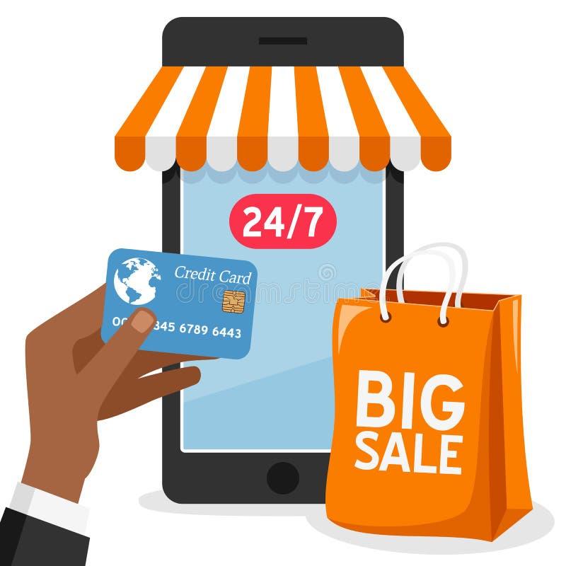 Achats de Smartphone avec le sac orange illustration libre de droits