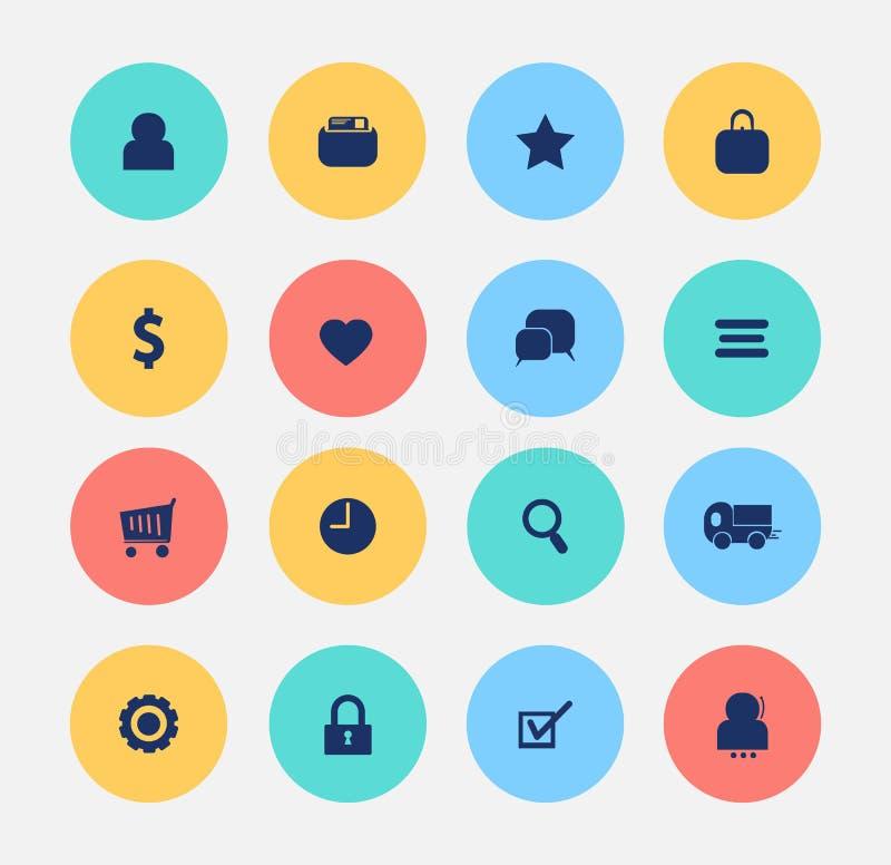 Achats de Web d'icône de commerce électronique illustration libre de droits